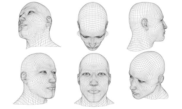 Set with a polygonal head of a man 3D Set with the head of a man in different positions. 3D. Vector illustration. human head stock illustrations