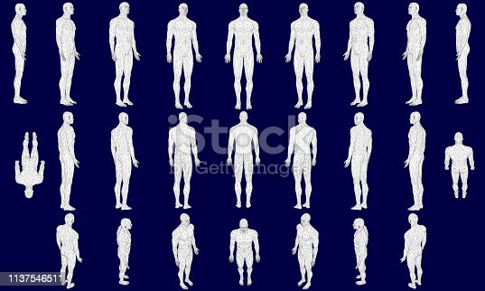 Set with a polygonal man in different positions. 3D. Vector illustration.