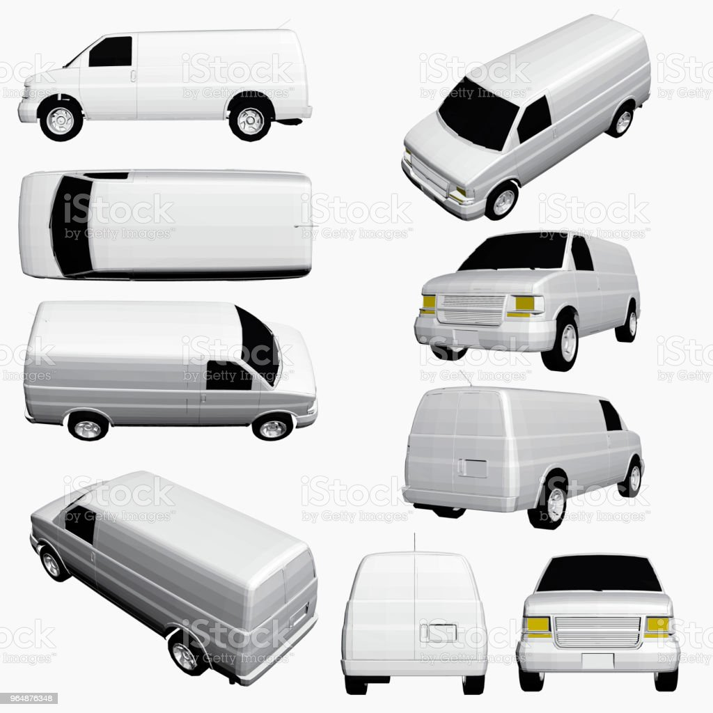 Set with a van in different positions royalty-free set with a van in different positions stock vector art & more images of advertisement