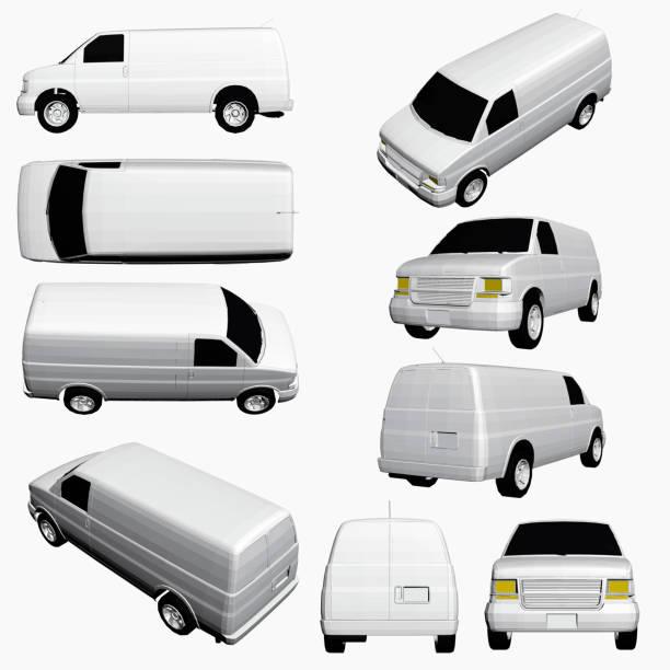 mit einem transporter in verschiedenen positionen eingestellt - vans stock-grafiken, -clipart, -cartoons und -symbole