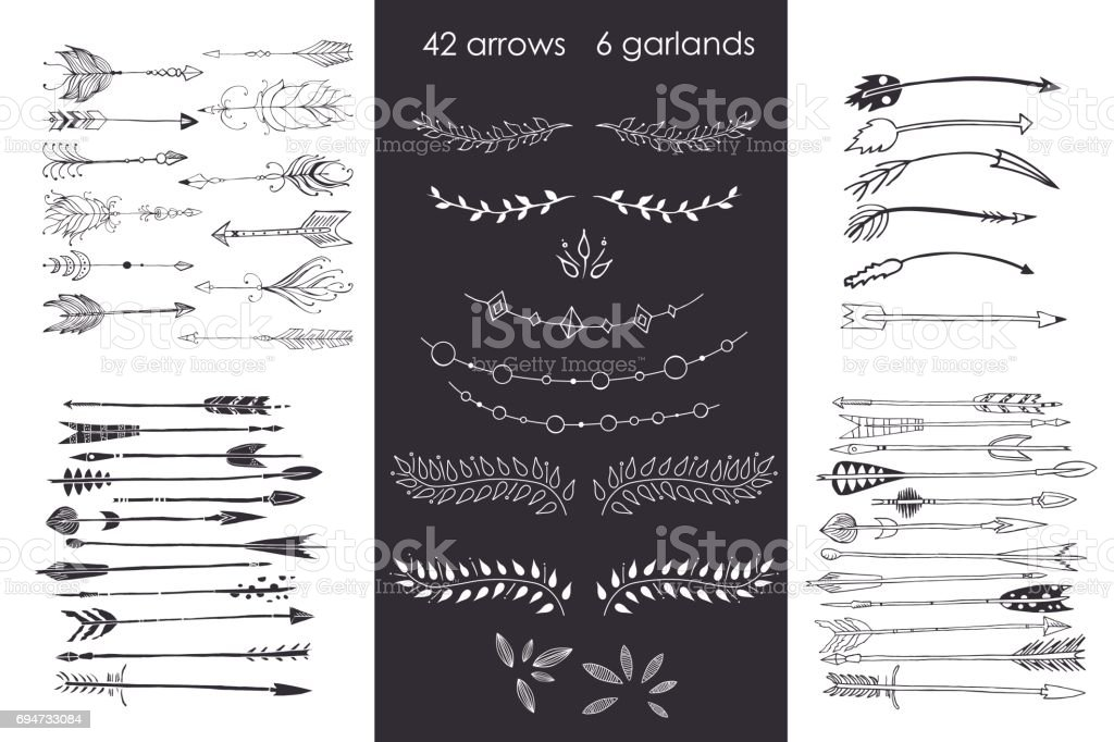 set with arrows, hand drawn ethnic collection with arrows, garlands, laurel for design, rustic decorative arrows, hippie and boho style vector illustration vector art illustration