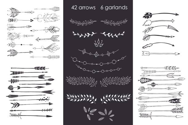 set with arrows, hand drawn ethnic collection with arrows, garlands, laurel for design, rustic decorative arrows, hippie and boho style vector illustration – artystyczna grafika wektorowa