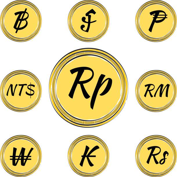 Set With Asian Currency Symbols Stock Vector Art More Images Of