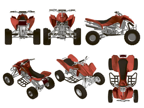 Set with ATV Set with the ATV in different types. Red quad detailed isolated on white background. Isometric view, side, front, top. 3D. Vector illustration of atv. quadbike stock illustrations