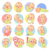 istock Set with baby stickers. 1075094344