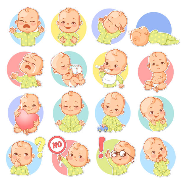 illustrations, cliparts, dessins animés et icônes de sertie de stickers bébé. - bébé