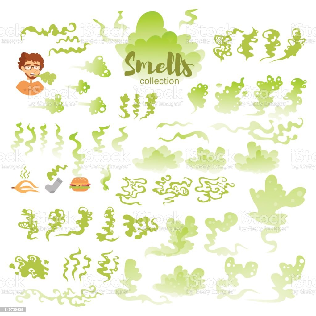 Set with bad smells vector art illustration