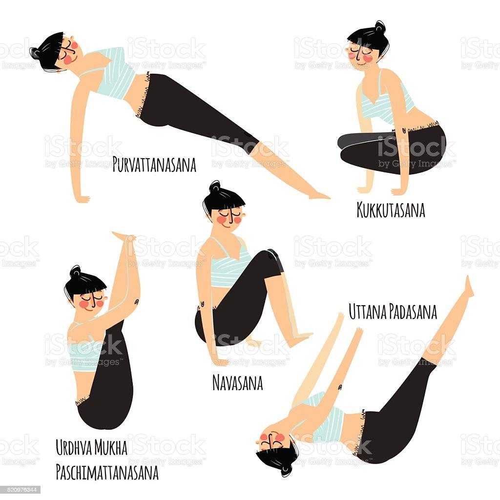 Satz Mit Schöne Frau Ausbildung Unterschiedlichen Yogaposen ...