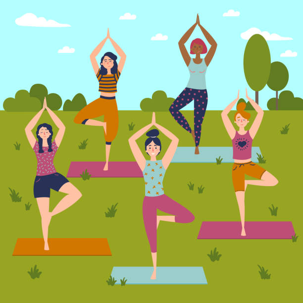Set with beautiful women in vrkasana pose of yoga Set with beautiful women in vrkasana asana pose of yoga. Vector set of exercises illustration. Five women in outdoor yoga class. Helthy lifestyle. Sun greeting. Sky, trees and grass background. Flat good posture stock illustrations