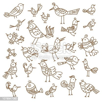 Cute cartoon birds set. Vector contour image no fill. Doodle style. Children's illustration. Funny animals.