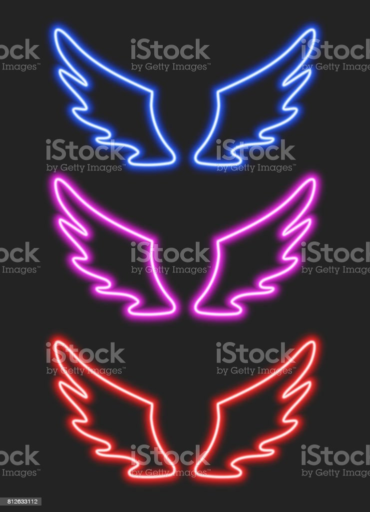 Set with blue, purple and red neon wings vector art illustration
