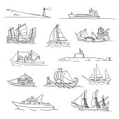 Set with boats of different ages. Doodles. Isolated  on a white background