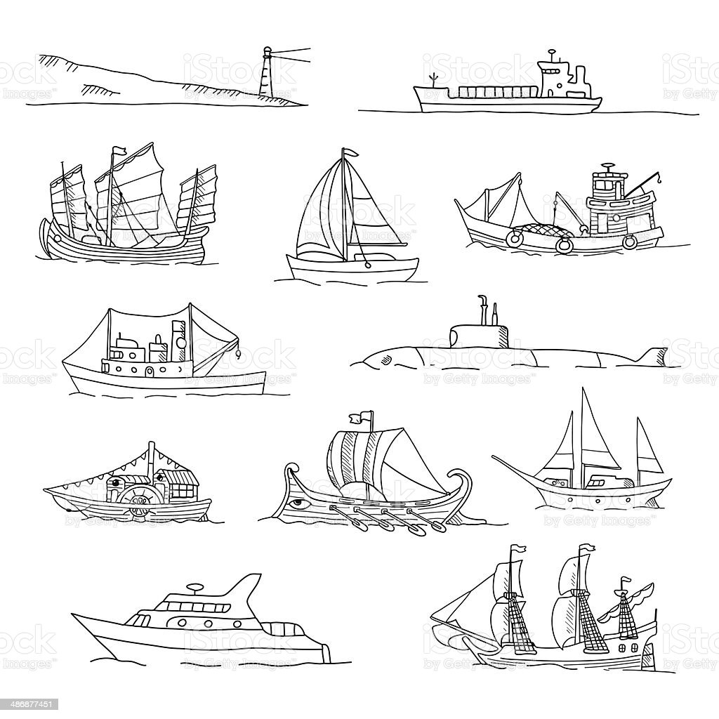 Set with boats of different ages. Doodles. vector art illustration