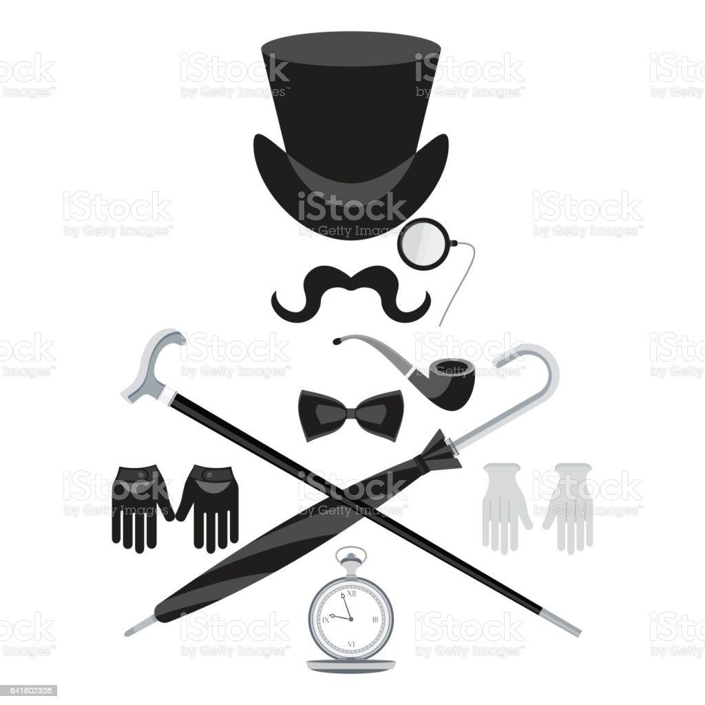 set with bowler hat vector art illustration