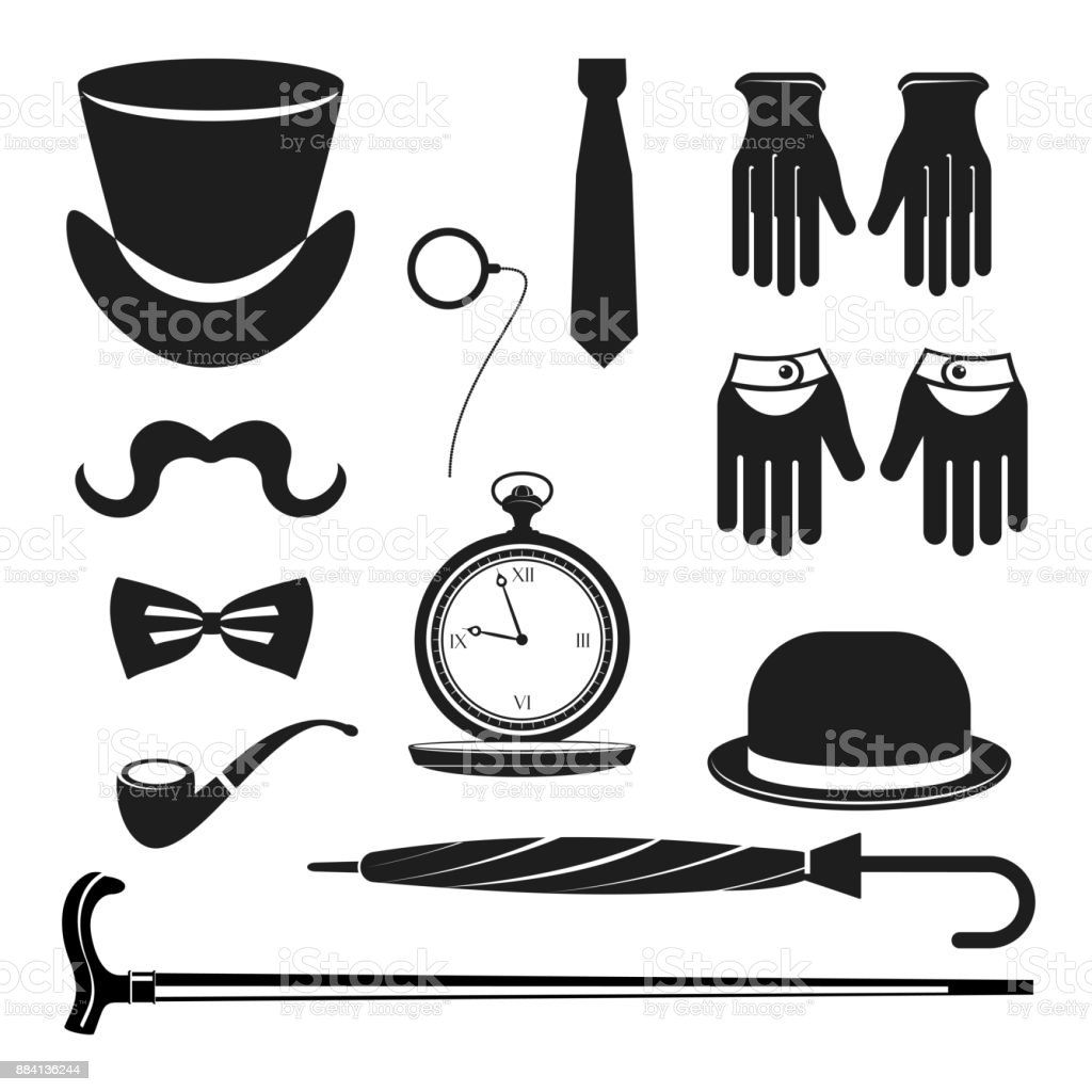 set with bowler hat vector art illustration