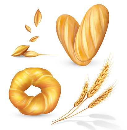 Set with bread, grain and spikelets.  Vector illustration.