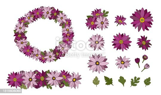 istock Set with bright stylized flowers and leaves of Chrysanthemum. Floral wreath. Illustration for romantic and summer design. 1315606060