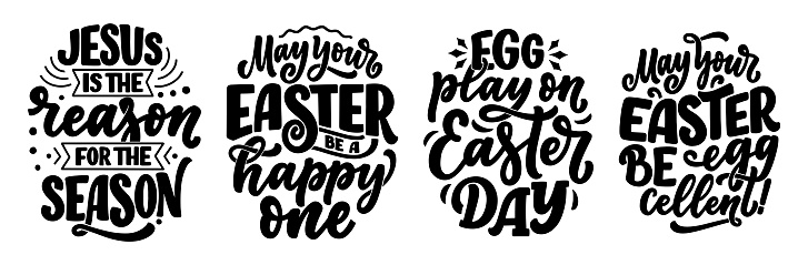 Set with calligraphy lettering slogans about Easter for flyer and print design. Templates for banners, posters, greeting postcards. Vector