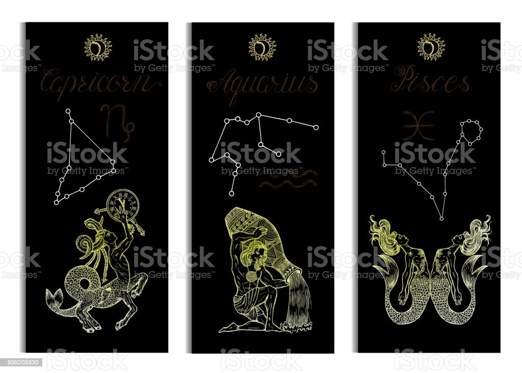 Set With Capricorn Aquarius And Pisces Zodiac Symbols Banners On