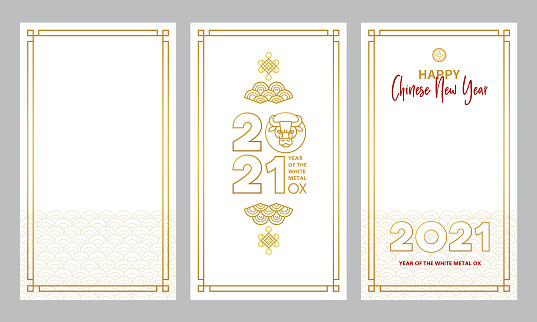 Set with cards, social media templates with a illustration of the Ox Zodiac sign, Symbol of 2021 on the Chinese calendar.