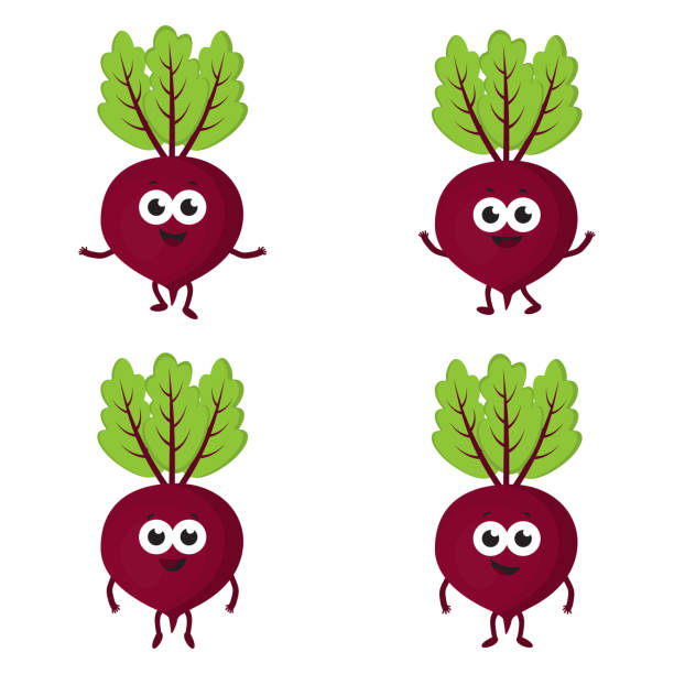 set with cartoon beets vector art illustration