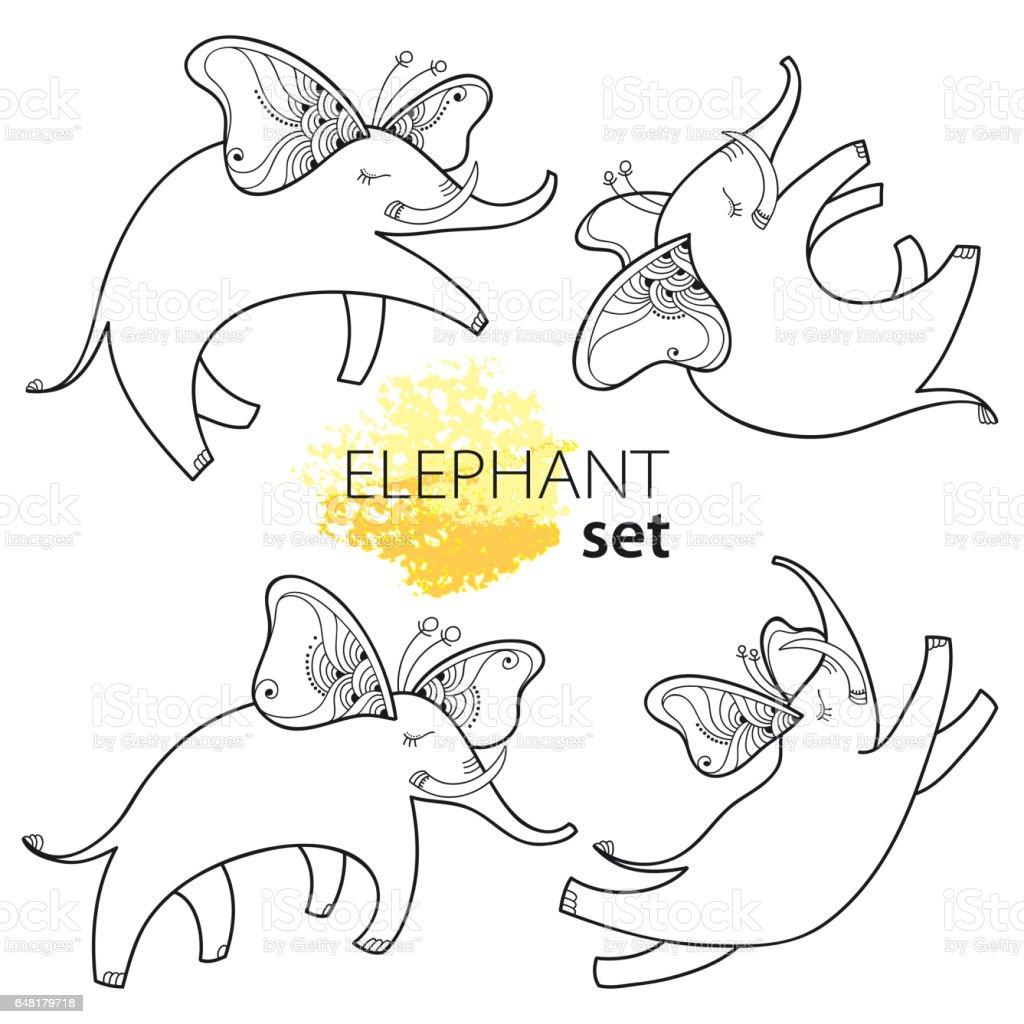 Ilustración de Conjunto Con Elefantes Cute Dibujos Animados Estilo ...