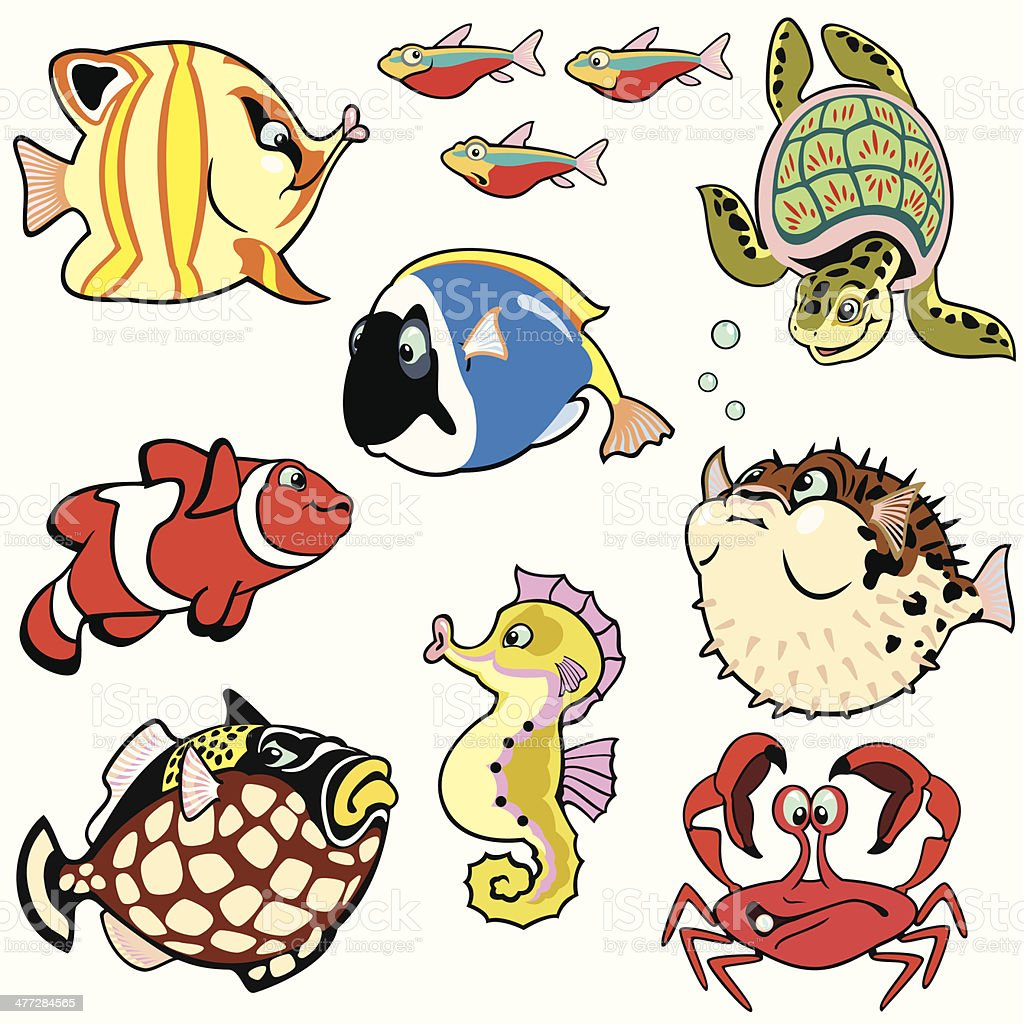 set with cartoon fishes vector art illustration