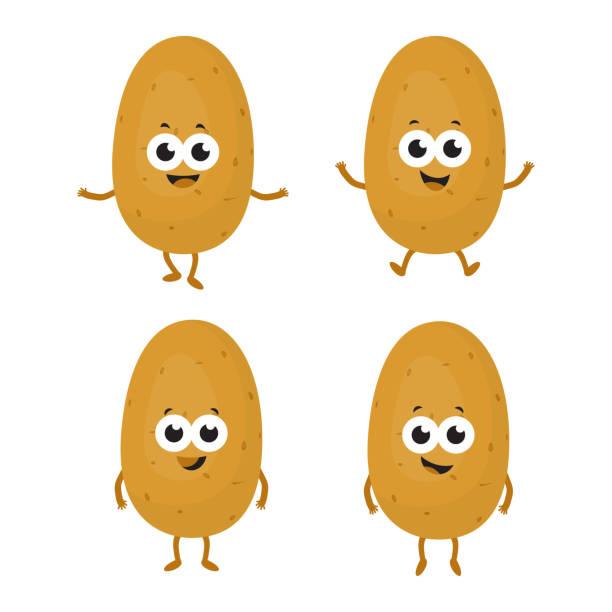 set mit cartoon-kartoffeln - kartoffeln stock-grafiken, -clipart, -cartoons und -symbole