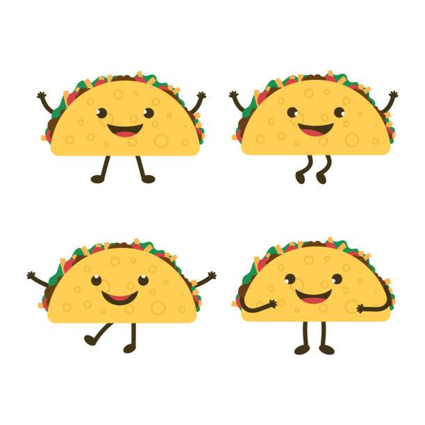 set with cartoon tacos - taco stock illustrations, clip art, cartoons, & icons