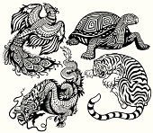 tiger,turtle,phoenix and dragon  Black and white set of four celestial feng shui animals