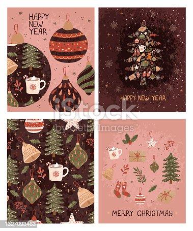 istock Set with christmas greeting card 1327093463