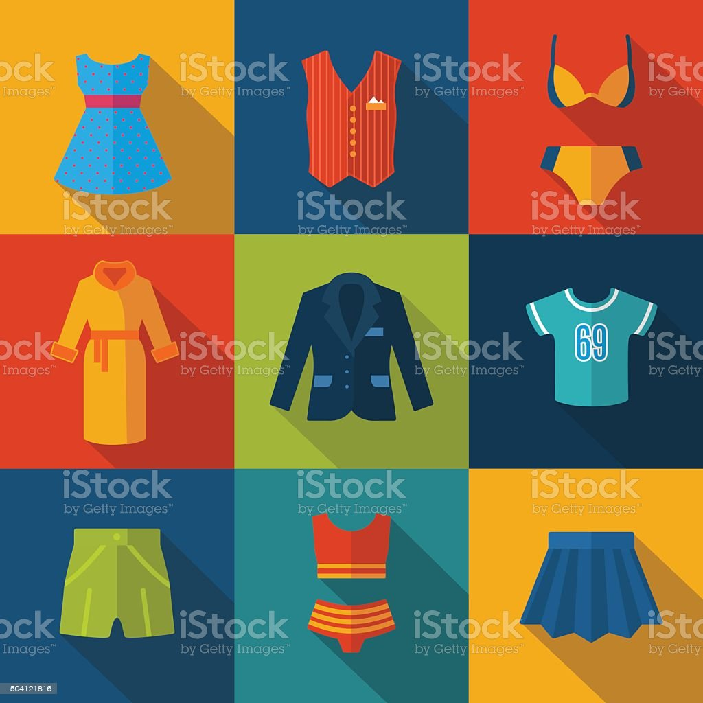 Set with clothes Icons vector art illustration