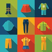Set with clothes Icons. Vector illustration. EPS 10