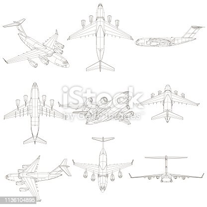 Set with contours of the aircraft. The contours of the aircraft from different points of view. 3D. Vector illustration.