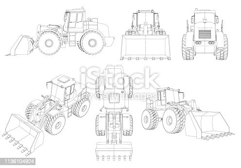 Set with contours of the bulldozer. 3D. Black line bulldozer isolated on white background. Bulldozer from different angles. Vector illustration.