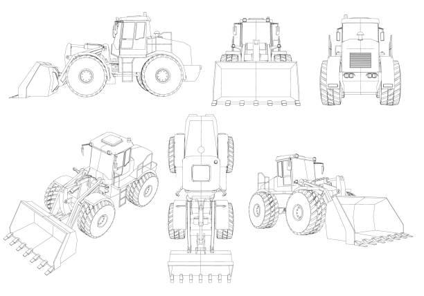 set mit konturen des bulldozers. 3d. schwarzer linienzelbulldozer auf weißem hintergrund isoliert. bulldozer aus verschiedenen blickwinkeln. vektorabbildung - bagger stock-grafiken, -clipart, -cartoons und -symbole