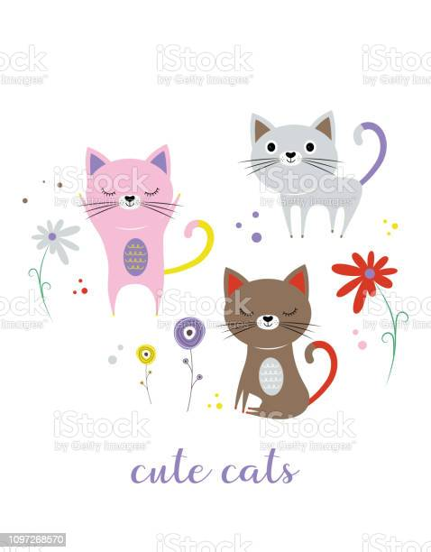 Set with cute cats and flowers vector id1097268570?b=1&k=6&m=1097268570&s=612x612&h=ovyix1nycaqyyxx4rlgdmbbw0hwstgoc mqtz3pps a=