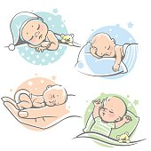 Children lying on pillow under blanket. Boy with teddy bear in bed. Girl sleep on stomach. Different sleeping positions. Sketchy style. Vector illustrations.