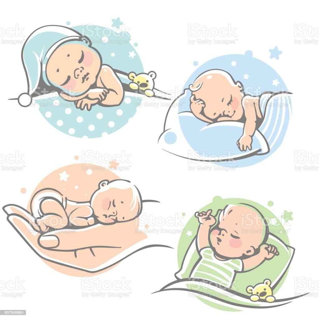 Set with cute little baby sleeping. vector art illustration