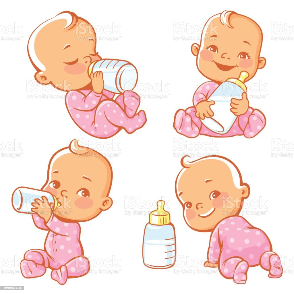 Set with cute little baby with bottle of milk. Newborn baby girl in pink pajamas drink milk.. Feeding newborn with formula or mother's milk. Happy toddler smile, crawl, sit, lie. Vector illustration. vector art illustration
