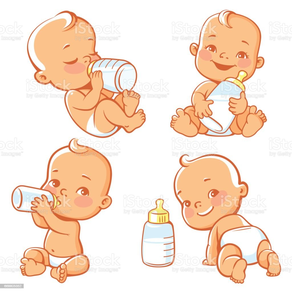 Set with cute little baby with bottle of milk. vector art illustration