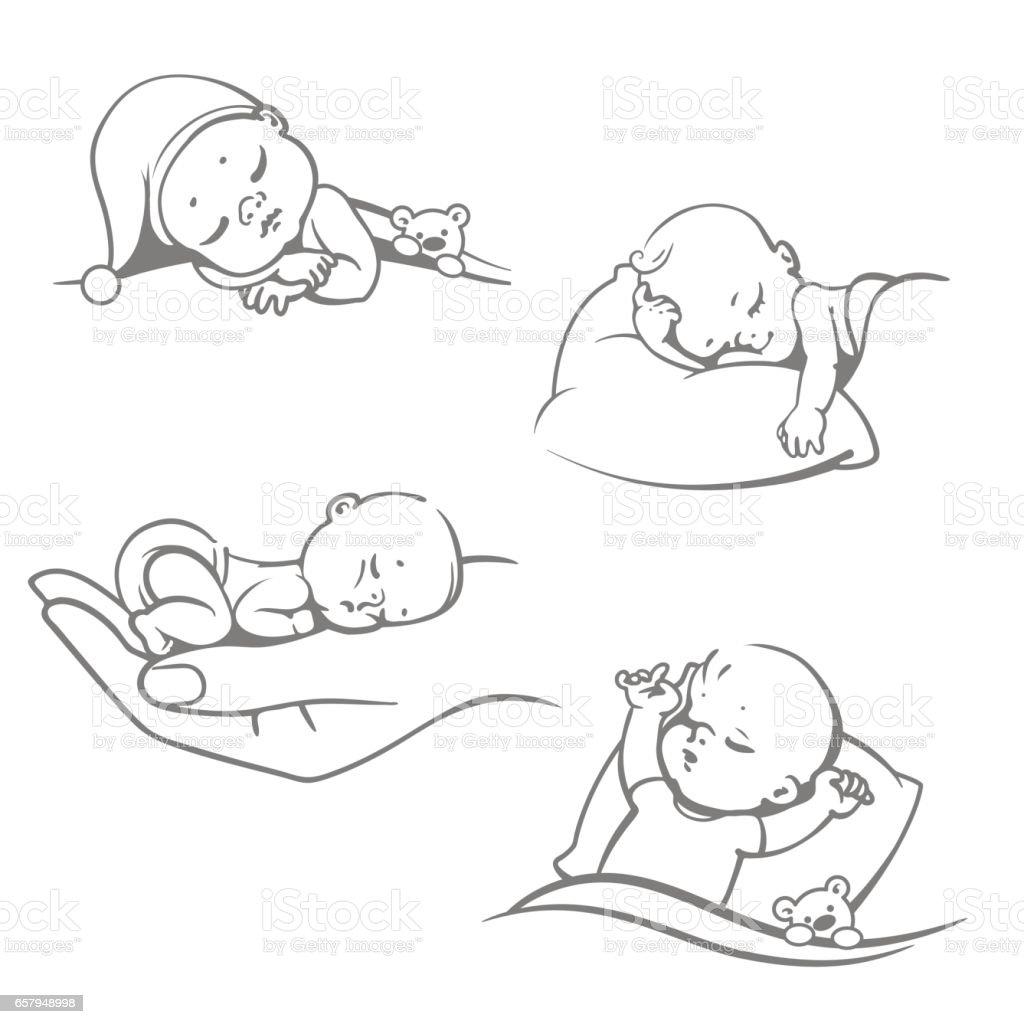Black And White Baby Sleeping: Vetor De Conjunto Com Giro Pequeno Bebê Dormindo E Mais