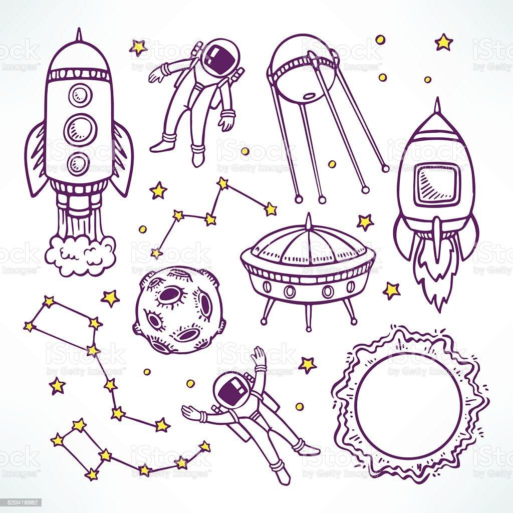 set with cute sketch rockets vector art illustration