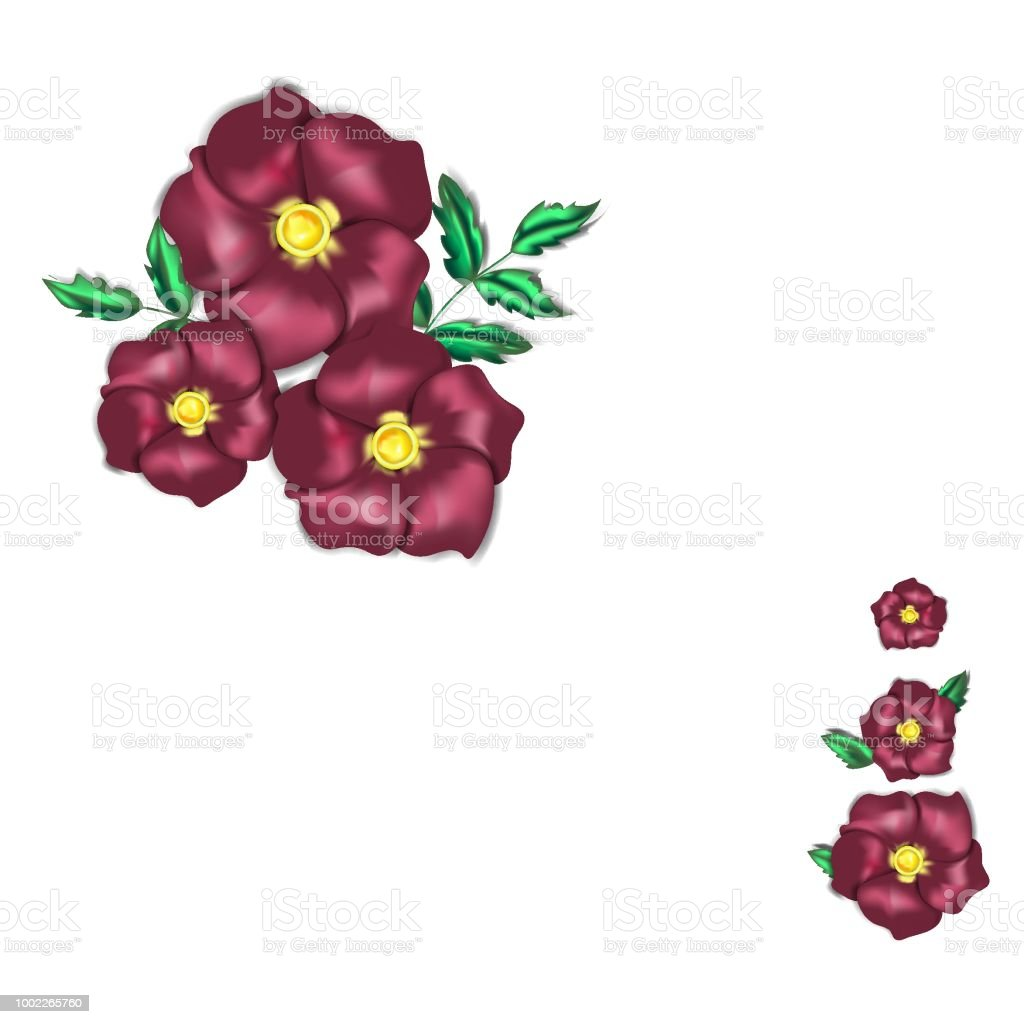 Set with dark red rose flowers that look like they are made from silk textile векторная иллюстрация