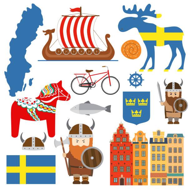 bildbanksillustrationer, clip art samt tecknat material och ikoner med set med designelement av symbolerna för sverige och karta - älg sverige