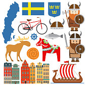 Set with design elements of symbols of Sweden and map