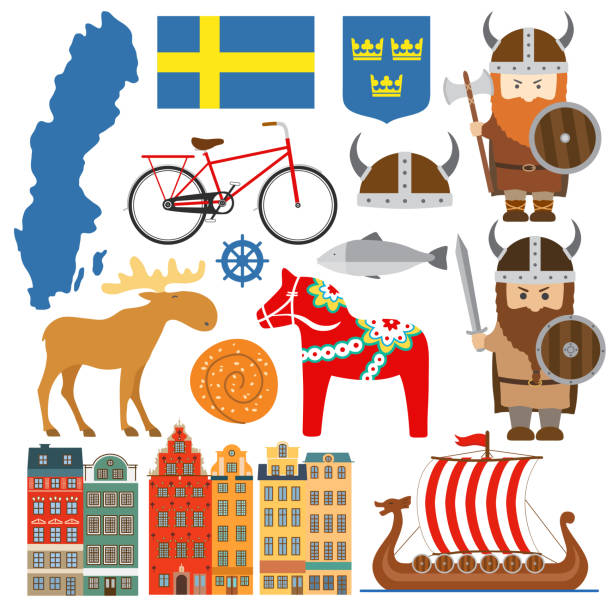 bildbanksillustrationer, clip art samt tecknat material och ikoner med set med designelement av symbolerna för sverige och karta - stockholm