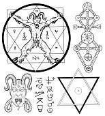 Magic set with Devil, Satan, pentagram and mystic symbols. Collection of sketch illustrations with mystic and occult hand drawn symbols. Halloween and esoteric concept