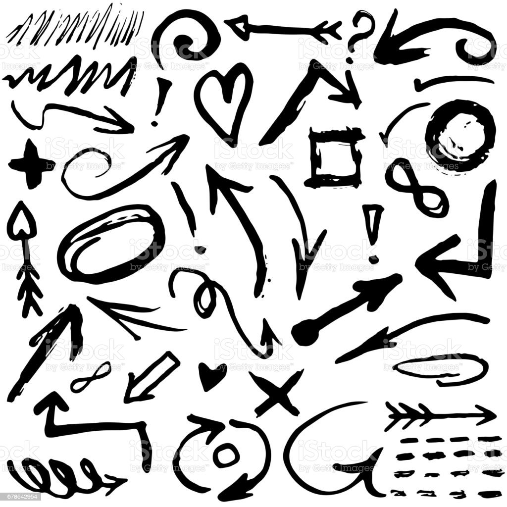 Set With Different Black Watercolor Symbols Objects Hand Drawn