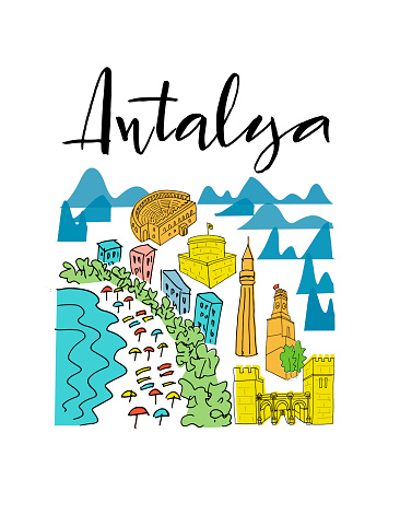 Set with elements of city sights of Antalya and Turkish symbols isolated on white background for banner, sticker, souvenirs, booklet. Hand drown vector illustration for travel agency, print shop